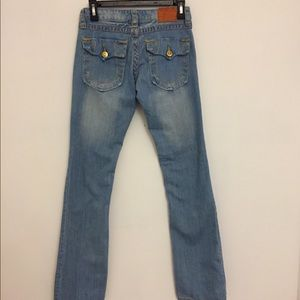 TRUE RELIGION: Light wash straight jeans